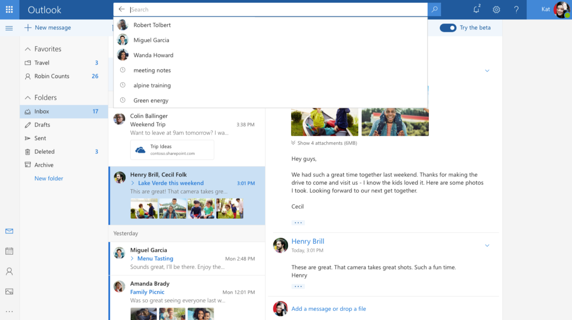 Outlook com novo visual